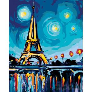 Звезды нал Парижем Раскраска картина по номерам на холсте RA195