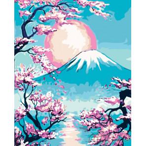 Раскладка Закат над горой Фудзи Раскраска картина по номерам на холсте RA223