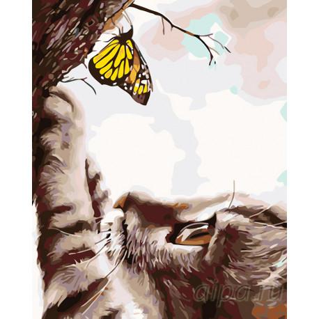 KTMK-41133-100x125 Любопытный котенок с бабочкой Раскраска ...