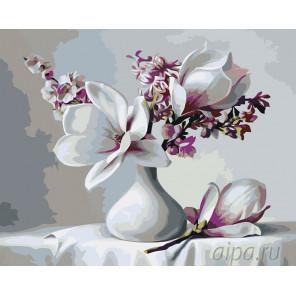 Магнолии в вазочке Раскраска картина по номерам на холсте KTMK-67592