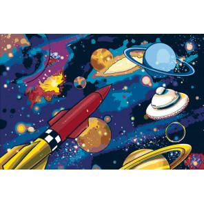 Космическое путешествие Раскраска картина по номерам на холсте RA239