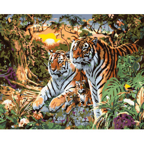 Дружная семья тигров Раскраска картина по номерам на холсте KTMK-05319