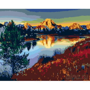 Гладь горного озера Раскраска картина по номерам на холсте KTMK-22493