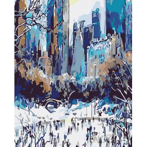 Зима в городе Раскраска картина по номерам на холсте KTMK-33943