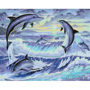 Игры дельфинов Раскраска по номерам на холсте Живопись по номерам KTMK-36068