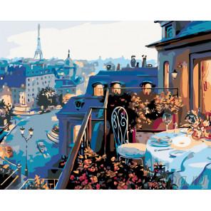 Романтичный вечер в Париже Раскраска по номерам на холсте Живопись по номерам KTMK-64410