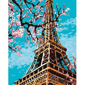 Весенняя Эйфелева башня Раскраска по номерам на холсте Живопись по номерам KTMK-71551