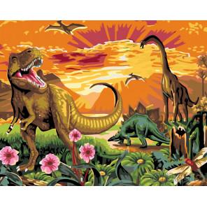 Раскладка Динозавры Раскраска по номерам на холсте Живопись по номерам KTMK-085901