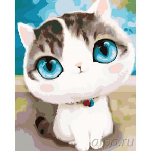 Трогательный котик Раскраска по номерам на холсте Живопись по номерам KTMK-3936011