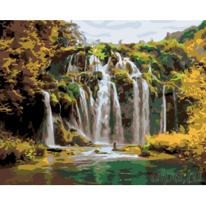 Водопад в зелени Раскраска по номерам на холсте Живопись по номерам KTMK-901606