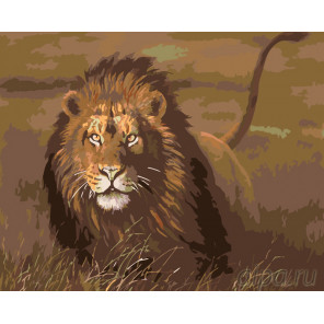 Львиная охота Раскраска по номерам на холсте Живопись по номерам KTMK-32548