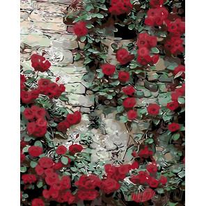 Стена увитая розами Раскраска по номерам на холсте Живопись по номерам KTMK-36379