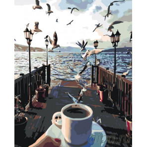 Кофе на причале Раскраска по номерам на холсте Живопись по номерам KTMK-001144