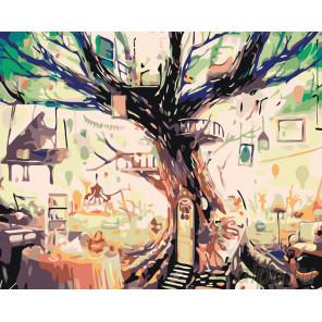 Домик на дереве Раскраска картина по номерам на холсте KTMK-287571