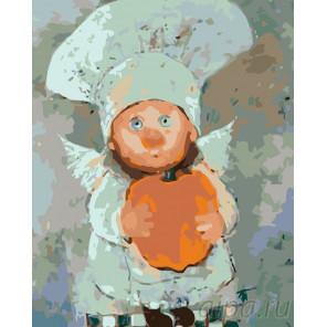 Поваренок с яблочком Раскраска картина по номерам на холсте KTMK-352771