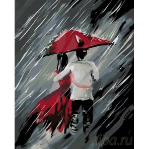 раскладка Пара под зонтом Раскраска по номерам на холсте Живопись по номерам