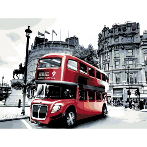 Двухэтажный автобус Раскраска картина по номерам на холсте KTMK-GB01