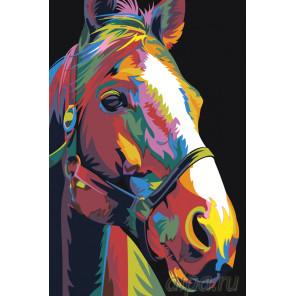 Радужная лошадь Раскраска картина по номерам на холсте PA138