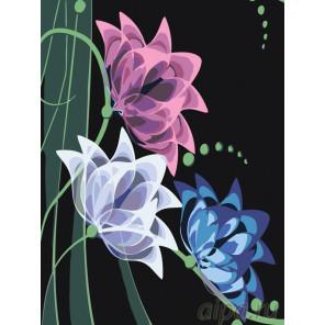 раскладка Неоновые лилии Раскраска картина по номерам на холсте
