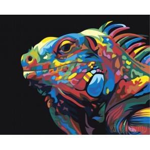 Радужная игуана Раскраска картина по номерам на холсте PA139