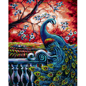 Павлин весной Раскраска картина по номерам на холсте A462
