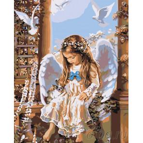 Малышка ангел Раскраска картина по номерам на холсте RA237