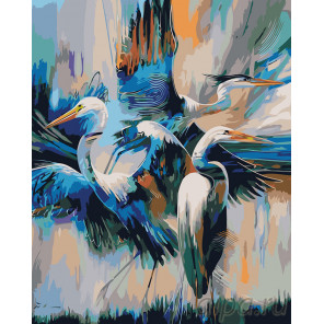 Танец аистов Раскраска картина по номерам на холсте A464
