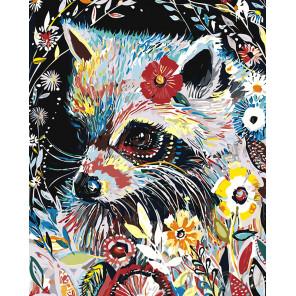 раскладка Енот в цветах Раскраска картина по номерам на холсте
