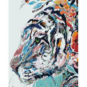 Тигр в узорах Раскраска картина по номерам на холсте A485