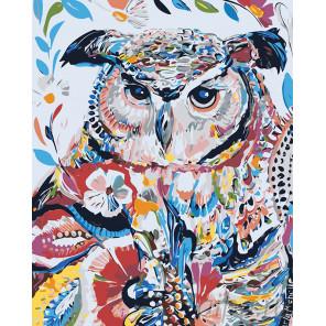 Сова в узорах Раскраска картина по номерам на холсте A490