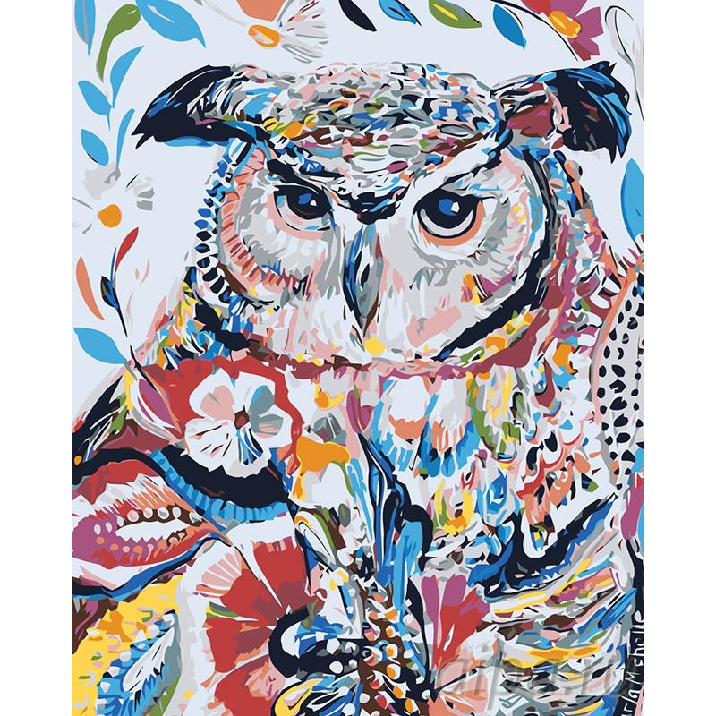 A490-100x125 Сова в узорах Раскраска картина по номерам на ...