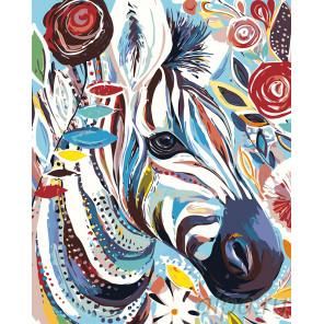 Зебра в узорах Раскраска картина по номерам на холсте A494