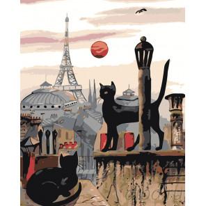 Парижские коты Раскраска картина по номерам на холсте RO103