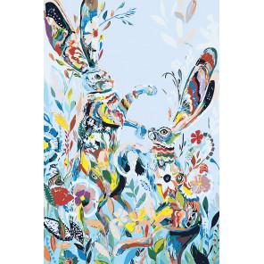 Зайцы в цветах Раскраска картина по номерам на холсте A476