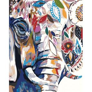 раскладка Слон в цветочном узоре Раскраска картина по номерам на холсте