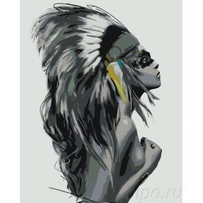 Дочь вождя (больше серых тонов) Раскраска картина по номерам на холсте KTMK-56498
