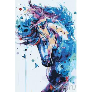 Лошадь с бабочками Раскраска картина по номерам на холсте A503