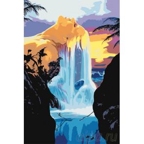 Водопад на чудесном острове Раскраска картина по номерам на холсте FT10