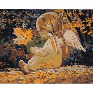 Девочка ангелочек с листиком Раскраска картина по номерам на холсте RA291