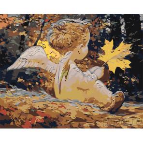 Ангелочек с листиком Раскраска картина по номерам на холсте RA292