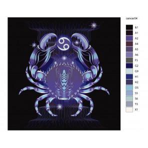 Макет Мистический краб Раскраска картина по номерам на холсте KTMK-CancerSighn04