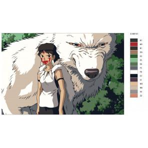 Макет Девочка и белый волк Раскраска картина по номерам на холсте Z-AB131