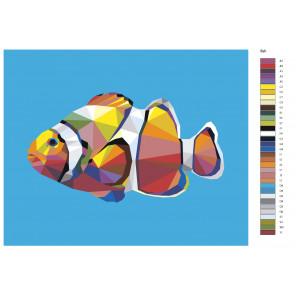 Макет Геометрическая модель рыбы-клоун Раскраска картина по номерам на холсте PA185