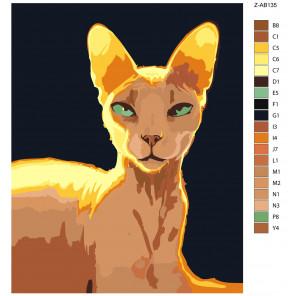Макет Египетская кошка Раскраска картина по номерам на холсте Z-AB135
