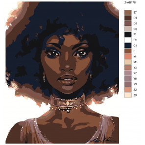 Макет Афроамериканка Раскраска картина по номерам на холсте Z-AB176