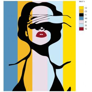 Схема Красавица поп-арт Раскраска картина по номерам на холсте PA17