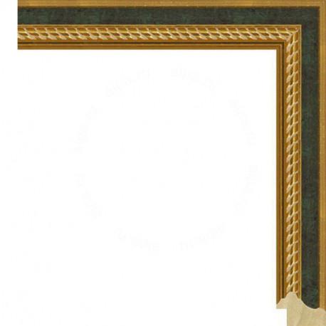 Зеленая с декоративными золотыми полосками Рамка для картины на картоне