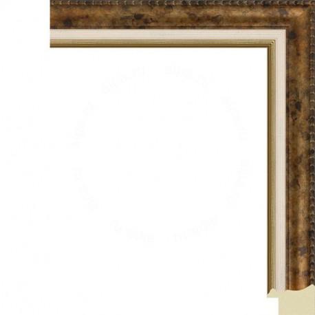 Коричневая с кремовой и золотой полоской Рамка для картины на холсте