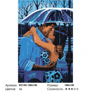 Сложность и количество цветов Романтичный дождь Раскраска картина по номерам на холсте RO143-100x150