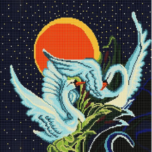 Лебеди Ткань с рисунком Божья коровка 0004